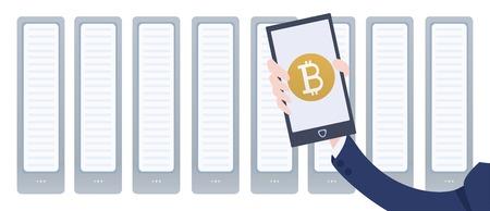 Cryptocurrency miniera azienda e smartphone in mano. App portachiavi mobile bitcoin. Illustrazione vettoriale in stile piatto in sfondo bianco. Archivio Fotografico - 81066246