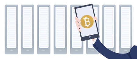 bitcoin network: Cryptocurrency mining farm and smartphone in hand. Mobile bitcoin wallet app. Vector illustration in flat style in white background.