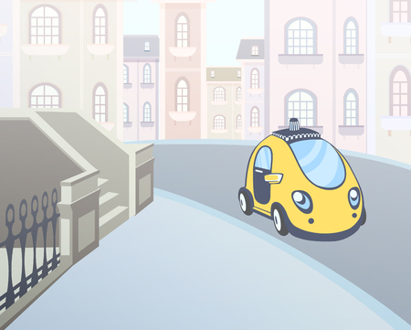 Yellow Taxi car parked at a house entrance in the street of the city. Vector illustration.