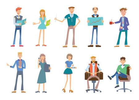 Set of business people in a casual wear. Company staff. Vector illustration, isolated on white background.