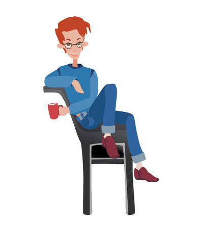 Young redhead man sitting on a chair with a Cup of coffee. Vector illustration, isolated on white background.
