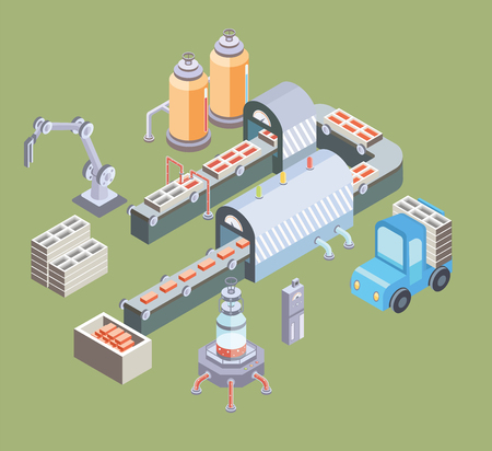 automated: Automated production line. Factory floor with conveyor and various machines.