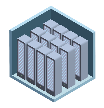 Data center icon, server room. Vector illustration in isometric projection, isolated on white background. Çizim