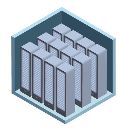Datacenter-pictogram, serverruimte. Vectorillustratie in isometrische projectie, geïsoleerd op een witte achtergrond. Stock Illustratie