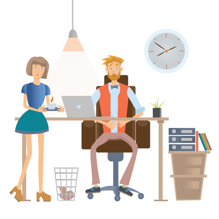 Secretary brings the boss coffee. Man and woman in casual clothes in office interior. Illustration