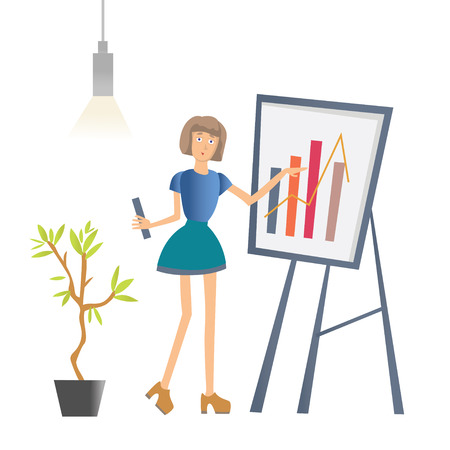 A woman is showing a graph. Business presentation in the office of the company. Vector illustration, isolated on white background. Illustration