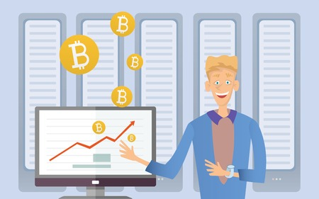 Mining bitcoin concept. Young man sitting at the computer in the server room. Cryptocurrency mining farm. Vector cartoon illustration. Иллюстрация