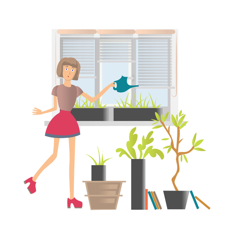 Young woman watering flowers at home or in the office. Vector cartoon illustration, isolated on white background.