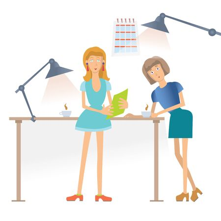 Two woman talking and drinking coffee in the workplace in the office. Illustration