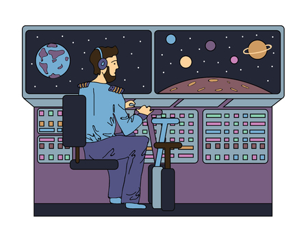 The pilot controls a space ship in space. Vector illustration.