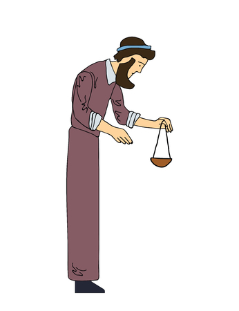 scale of justice: Man with the beard holds in his hands the scales. Vector illustration, isolated on white background.