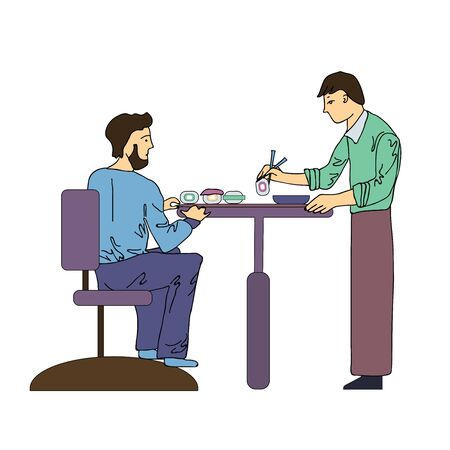 Two men eat sushi in a Japanese restaurant. Vector illustration, isolated on white background. Stock Photo