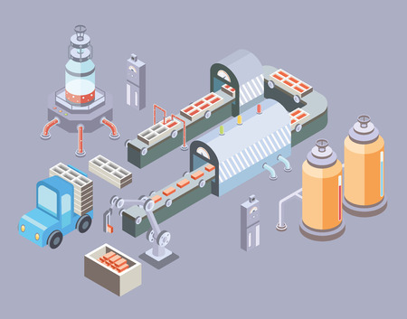 Automated production line. Factory floor with conveyor and various machines. Industrial vector illustration in isometric projection.