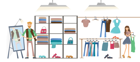 hangers: Young man and woman in clothing store. Fashion store, racks of clothes. Vector illustration, isolated on white background. Illustration