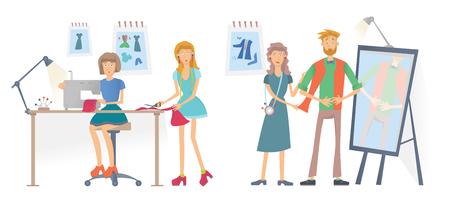 Mode naaien Studio, Atelier. Jonge vrouwen naaien kleding met een naaimachine. Een man probeert kleren aan. Vectorillustratie, geïsoleerd op een witte achtergrond.