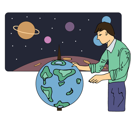 scholar: Scientist man, astronomer or a geographer looks at the globe. Vector illustration, isolated on white background.