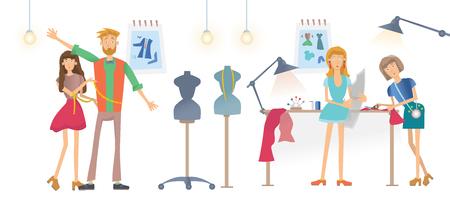 Mode naaien Studio, Atelier. Jonge vrouwen naaien kleding. Een man probeert kleren aan. Vectorillustratie, geïsoleerd op witte achtergrond.
