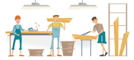 Men working in a carpentry workshop. Furniture manufacturing, woodworking. Vector illustration isolated on white background. Illustration
