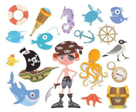 Sea adventure set. Young one-eyed pirate with a sword, treasure chest, shark, octopus and other pirate items. Childrens vector illustration, isolated on white background.