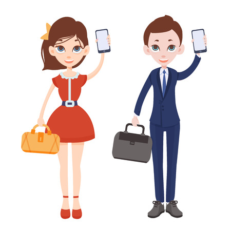 using smart phone: Young cartoon man and woman with phones in their hands. Woman in red dress with handbag. Man in a business suit with a briefcase. One hand raised up and holding a smartphone. Vector illustration.