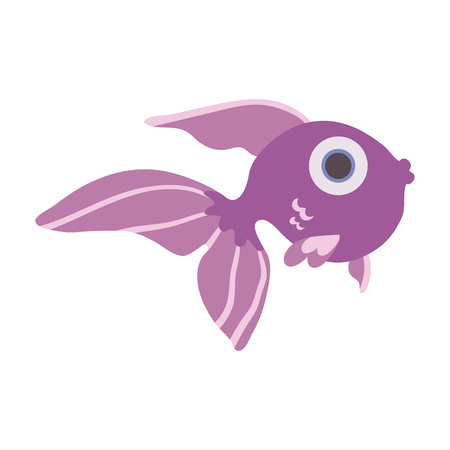 Cute sea fish. Vector illustration, isolated on white background.