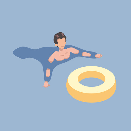 Swimming man with the rubber ring in isometric projection. Vector illustration, isolated on blue background.