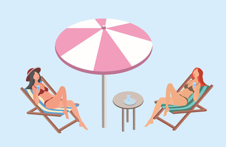 chairs: Two young women lying in the sun loungers with beach umbrella and relax. Vector illustration in isometric projection.