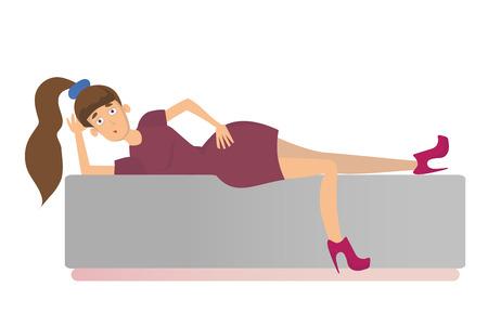 ベッドに横たわって若い長髪の女性。ベクトル図では、白い背景で隔離。
