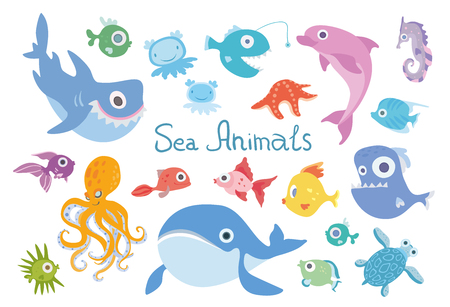 Cartoon sea animals set. Whale, shark, dolphin, octopus, turtle and other marine fish and animals. Vector illustration, isolated on white background. Illustration