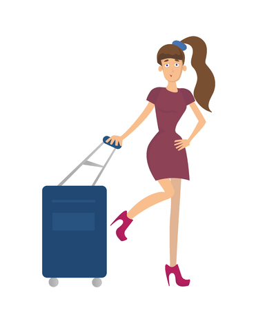 longhaired: Young long-haired woman with a suitcase on wheels. Vector illustration, isolated on white background.