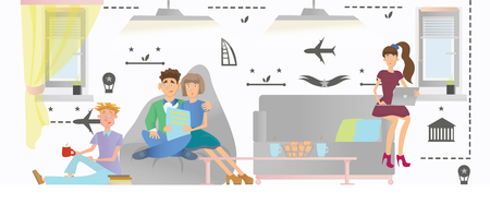 common room: Young people relax in a public area of a hostel or hotel. Vector illustration. Illustration
