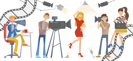 Shooting a movie or a TV show. A director with a loudspeaker, cameramen and an actress or model. Vector illustration, isolated on white.