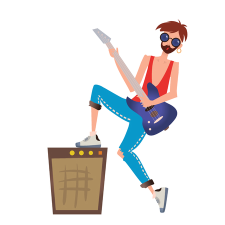 concert speaker stack vector. concert stage amps: a young caucasian man playing the guitar. rock musician. vector speaker stack