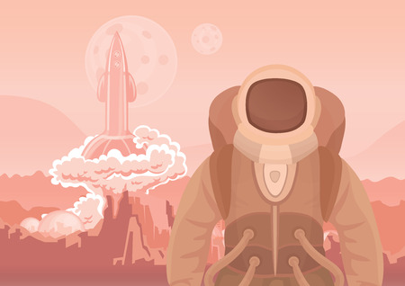 spacesuit: Astronaut on Mars or another planet. A rocket blasting off space travel vector illustration. Illustration