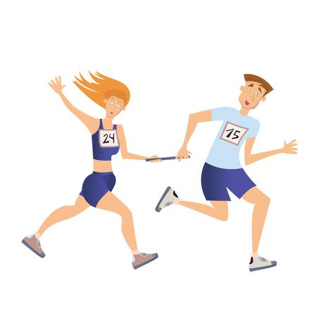Relay race running man en vrouw vector illustratie geïsoleerd op een witte achtergrond.