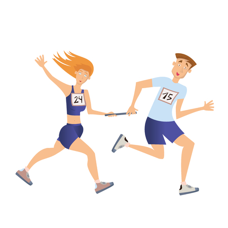 Relay race running man and woman vector illustration isolated on white background.