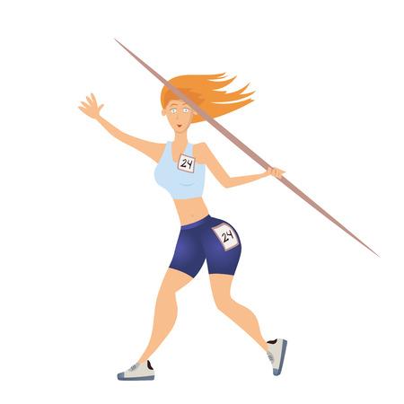 Mujer lanzando la jabalina. Ilustración vectorial, aislado sobre fondo blanco. Foto de archivo - 82080991