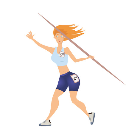 lanzamiento de jabalina: Mujer lanzando la jabalina. Ilustración vectorial, aislado sobre fondo blanco.