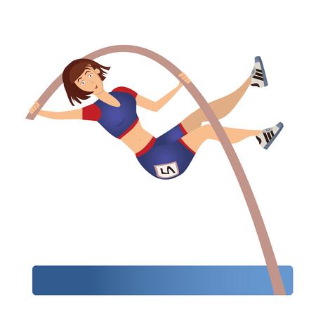 Female Pole vaulting. Woman vaulter, sportswoman. Vector illustration, isolated on white background Çizim