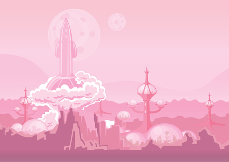 human settlement: City of the future on another planet and rocket blasting off. Space colony, human settlement on Mars. Vector illustration with copy space.