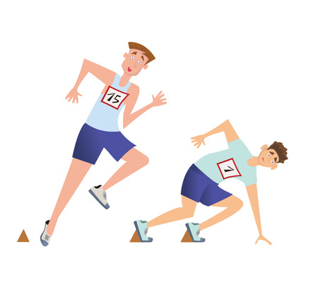 Runners sprinters start. Two young men at the start of the running competition. Vector illustration, isolated on white background.