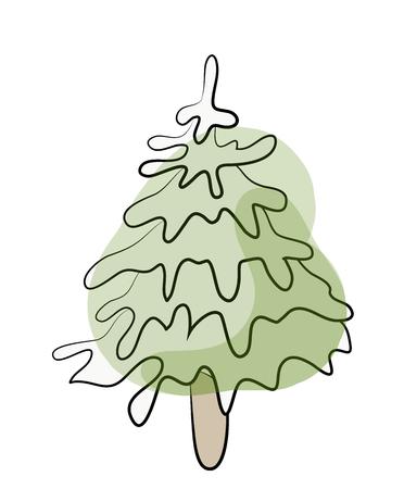 緑のモミの木のスケッチ。ベクトル図では、白い背景で隔離。  イラスト・ベクター素材