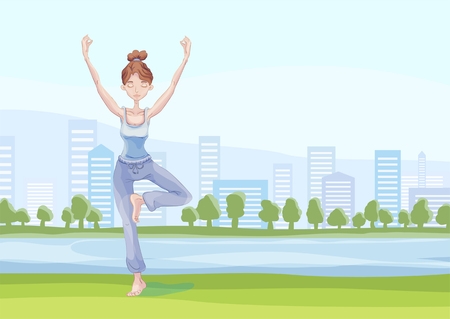 Young attractive woman practicing yoga in the city park, standing on one leg. Vrikshasana exercise, Tree pose. Vector illustration, isolated on white background.