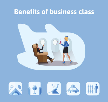 Benefits of flights in business class. Respectable businessman sitting in comfortable airplane seat, the stewardess bringing him a drink. Vector illustration in flat style.