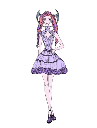 Long haired gothic girl in dress. Vector ilustration, isolated on white background.