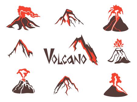 火山のロゴを設定します。火山噴火。ベクトル図では、白い背景で隔離  イラスト・ベクター素材