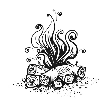 Campfire, fire over wood logs. Black and white graphic vector illustration, isolated on white background.  イラスト・ベクター素材