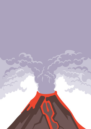 The eruption of the volcano, smoke and volcanic ash into the sky. Hot lava flows down the mountainside. Vector illustration with copy space. Illusztráció