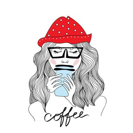 コーヒーを飲んで赤い帽子の長い女性。ベクトル図では、白い背景で隔離。