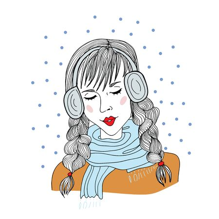 Cute young girl with headphones standing with closed eyes under the falling snowflakes. Vector illustration, isolated on white background.